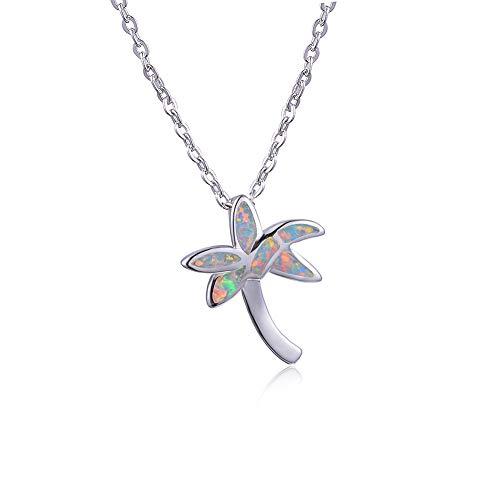 B&H-ERX Nette Kokosnuss-Baum-Anhänger-Halskette für Frauen 925 Sterlingsilber Female Blue Fire Opal Halskette Geburtsstein Fine Jewelry,Weiß