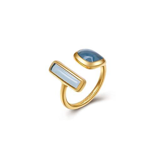 ZWW Blauer Topa mit unregelmäßigem Öffnungsring der weiblichen Hipster-Persönlichkeit Aquamarin