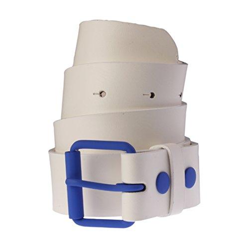 Ceinture en cuir bicolore pour Femme et Homme Masterdis Fasion Prong Belt blanc/bleu royale - Taille:S