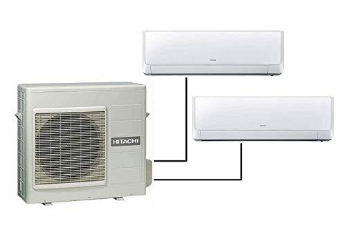 Dual split inverter HITACHI Multizone Premium R410A + 2 x Akebono 9000 BTU climatizzatori a parete RAM-53NP2B + RAK-25RXB