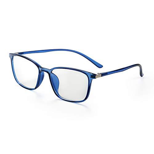 Aroncent Brillengestell für Vista Herren Damen UV 400 Anti-Licht, widerstandsfähig, elastisch, transparentes Glas, bequem, leicht, Farbe wählbar blau