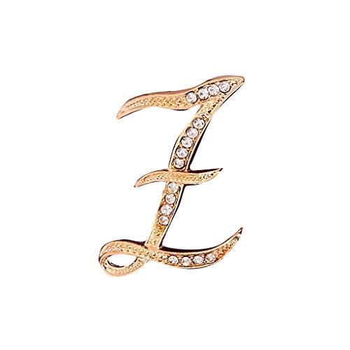 Masrin 1 STÜCK Kristall 26 Englisch Buchstaben Brosche Paar Memorial Schmuck Liebe Geschenke (Z, Gold)