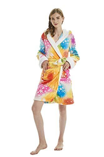 Mystery&Melody Erwachsene Sterne Einhorn Bademantel Bunte Einhorn Tiere Bademantel Pyjamas Cosplay Kostüme Tiere verkleiden Sich (Erwachsene Verkleiden Kostüme)