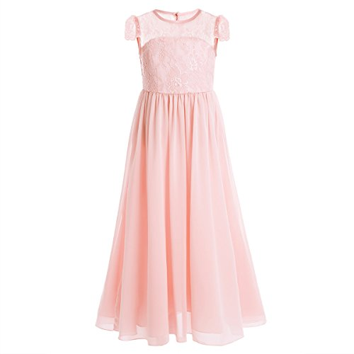 CHICTRY Big Girls Lace Chiffon Flower Girl Wedding Party Bridesmaid Dance Gown Dress With Floor Length
