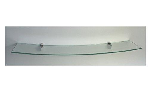 Wandregal Glasregal 100x20 cm /8mm CONCAVO gerundet Klarglas / Cliphalterung C325 in weiß