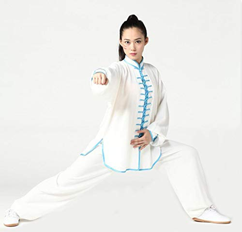 zz Tai Chi Uniform Unisex Cotton Hemp Kung Fu Uniform V Neck Long Sleeves Martial Arts Uniforms Martial Arts Training Clothes Performance Costume,White1-L (Martial-arts-uniform V-ausschnitt)