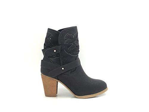 CHIC NANA Chaussure Femme Bottine Style Nubuck Perforée à Talon.