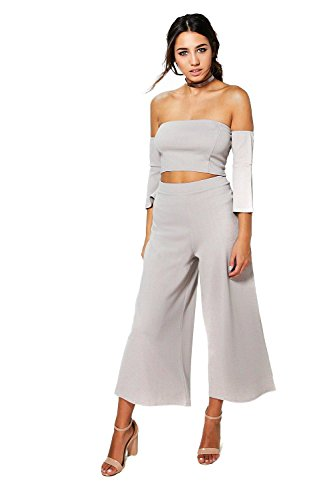 Gris Femmes Becky Off The Shoulder Et Culotte Co-Ord Gris