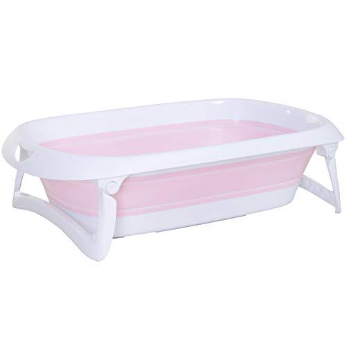 HOMCOM Folding Baby Bath Tub Toddler Kids Infant Safety Shower Slide Protection Comfortable Portable Pink