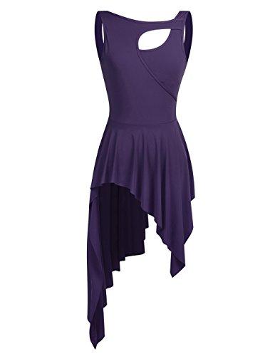 CHICTRY Edler Damen Ballettkleid Balletttrikot Ballettanzug Gymnastikanzug Turnanzug Leotard mit Asymmetrisch Röckchen Violett Medium