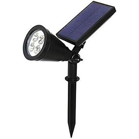 LIZH Luces de LED impermeable Solar Powered foco jardín paisaje camino vía césped lámpara grandes paneles solares