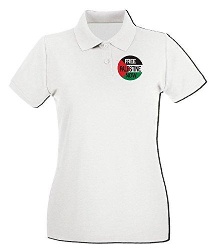 Cotton Island - Polo pour femme TM0552 Free Palestine Now Blanc
