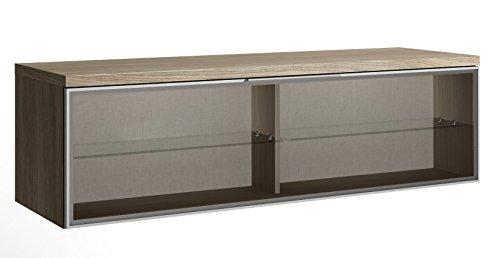 Meuble TV-élément bas Chêne-foncé avec 1 porte de verre, 399 x 1373 x 420 mm -PEGANE-