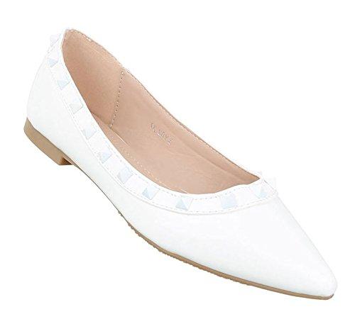 Damen Ballerinas Schuhe Lofers Espadrilles Pumps Weiß