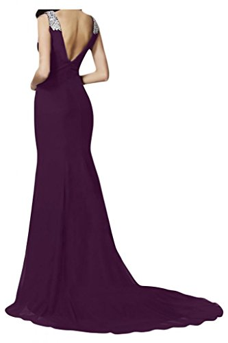 TOSKANA BRAUT Damen V-Ausschnitt Chiffon Abendkleider Lang Ball Prom Party Brautjungfernkleider Traube