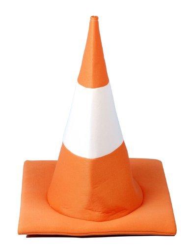 Henbrandt - Orange Und Weißer Verkehrskegel Kostüm Hut