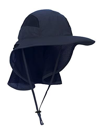 WANYING Unisex UV Schutz Sonnenhut mit Nackenschutz 12cm Großer Brim Outdoor Aktivitäten - für Kopfumfang 56-62cm Upgrade Stoffe Dunkelblau - Spielen Sonnenhut
