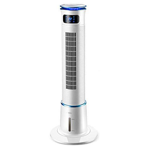 Oevina Luftkühler Tragbarer Turmventilator 3 Geschwindigkeiten 15 Stunden Zeitmessung Echtzeit-Anzeige LED-Lichtgürtel Heimkühlung Mobile Befeuchtung einzelne kalte kleine Klimaanlage 36X36X110cm