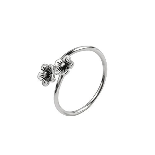 Jane Stone Adjustable Handmade 925 Sterling Silver Cute Flower Vintage Wrap Ring