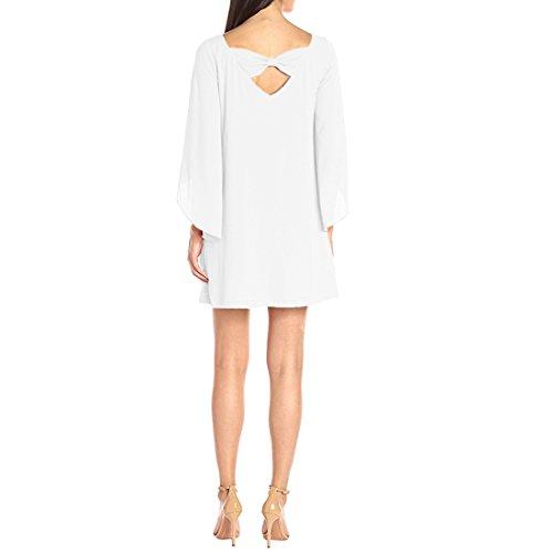QIYUN.Z Frauen Unregelmäßige Hülse Backless Normallack Chiffon- Beiläufiges Schichtkleid Weiß