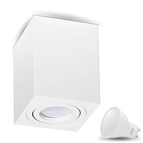 Aufbauleuchte Deckenleuchte Aufputz MILANO -LANG- 7W LED Warmweiss GU10 230V [quadrat, weiss, schwenkbar] Deckenleuchte Strahler Deckenlampe Würfelleuchte Cube Kronleuchter aus Aluminium Spot