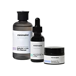 Minimalist Oil Control Skincare Routine (Cleanse - Treat - Moisturize) | Combo of Salicylic Acid Face Wash, Niacinamide Serum & Sepicalm with Oats Face Moisturizer | Pack of 3