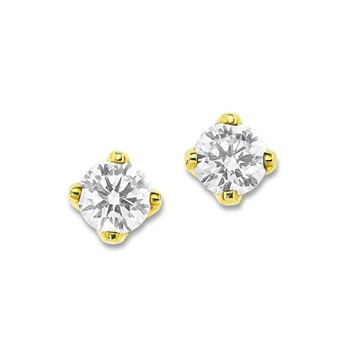 s.Oliver Damen-Ohrstecker 925 Sterling Silber teilweise vergoldet veredelt mit funkelnden weißen Zirkonia (synth.)