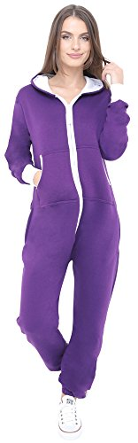 Juicy Trendz Neue stilvolle Damen-Kapuzenpulli Hoody Strampelanzug Körperanzug Jumpsuit Overall, Violett, Gr. L (Damen Strampelanzug Günstige)
