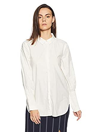 VERO MODA Women's Regular Fit Cotton Shirt (1967373002_10187740_White_XS)