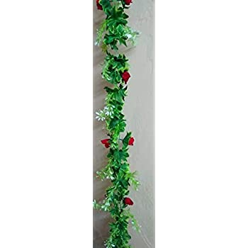 Artificial Plant Vine with red Flowers/Attractive Real Like / 5 feet Strand