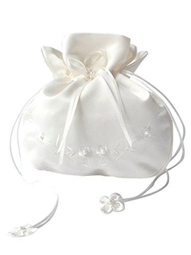 Brauthandtasche,Zugbeutel mit Perlen u.Blumen bestickt Maße ca.18*14cm (Blume Satin Handtasche Weiße)
