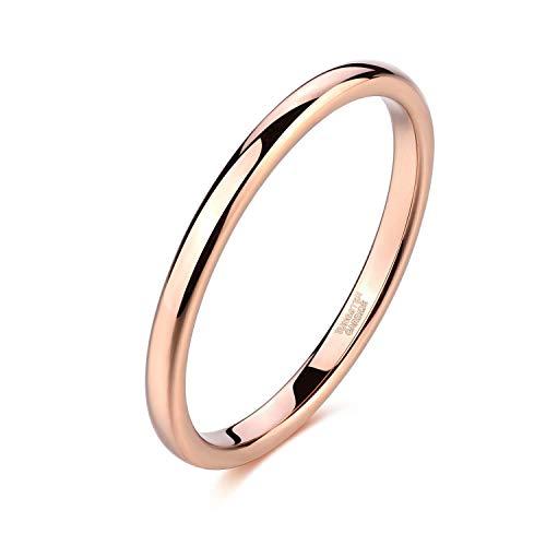 Titaniumcentral 2mm Silber Herren Damen Wolfram Ring Wolframcarbid Ringe Hochzeit Ehering Verlobungsringe Polierte (2mm-Rose Gold, 49 (15.6)) (Gold-wolfram Herren Ehering)
