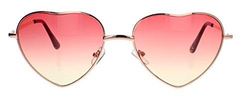 (amashades Vintage Classics Festival Eyecatcher Retro Sonnenbrille Herzform Metall Rahmen gold Herzbrille (Farbverlauf Rosa/Gelb))