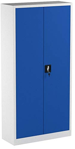 Jan Nowak by Domator24 2er Set Aktenschrank C001 Büroschrank Metallschrank Werkzeugschrank 4 Fachböden Stahlblech Flügeltüren Pulverbeschichtung 185 cm x 90 cm x 40 cm (grau/blau), Metall