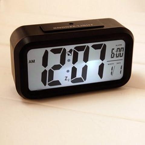 FQQRYY Creative elegante ampio schermo LED orologio elettronico intelligente mute Jong-glow-in-il-orologio con sensore di luce orologio 13,5*7,8*45cm, nero