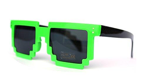 Pixelbrille grün neon Grün schwarz Pixel (Sonnenbrille Hip Hop)