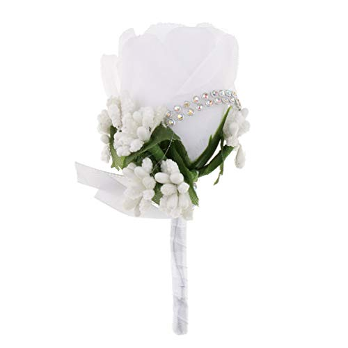 Bräutigam Hochzeitsanstecker Gästeanstecker Ansteckblume Boutonniere, Elegant und Romantisch - Weiß ()