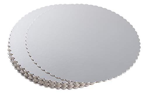 Tortenbretter rund - 12 Stück Silberfolie Pizza Boden Einweg-Kuchenbretter Wellpappplatten, Tortenböden mit dekorativem Wellenrand 25,4 cm Durchmesser