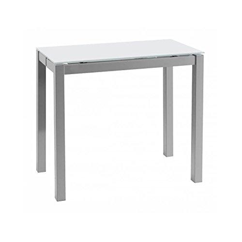 Mesa de cocina extensible pequeña cristal traslúcido