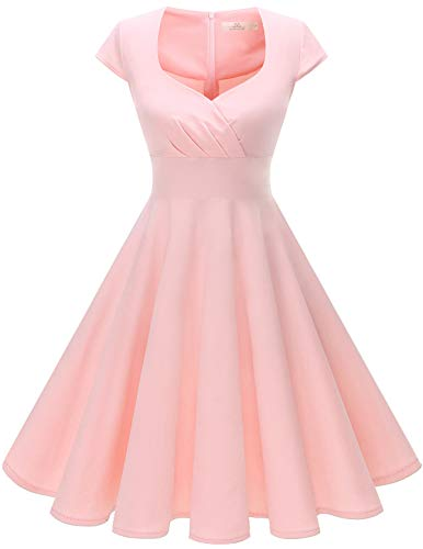 HomRain Damen 50er Retro Vintage Rockabilly Cocktail Party V-Ausschnitt Abendkleid Blush S