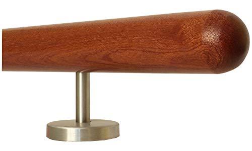 Mahagoni Geländer Handlauf Treppe Holz Griff gerade Edelstahlhalter, Länge 30-500 cm aus einem Stück/zum Beispiel Länge 30 cm mit 2 gerade Halter - Enden = Halbkugel gefräst