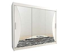 Kryspol Schwebetürenschrank Monaco 250 cm mit Spiegel Kleiderschrank mit Kleiderstange und Einlegeboden Schlafzimmer- Wohnzimmerschrank Schiebetüren Modern Design (Weiß)