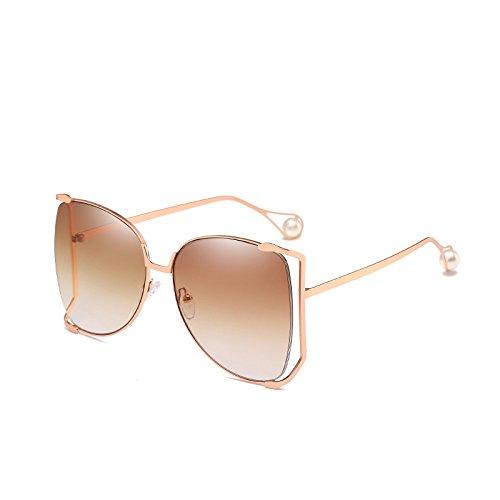 SUNGLASSES Neue Metall-Halbrahmen-Sonnenbrille Frau Big Box Bunte Ocean Sonnenbrille Perle dekorative Spiegelglas Gläser (Farbe : Gradient Tea)