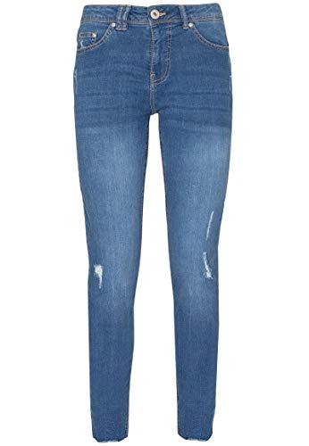Sublevel Damen Skinny-Jeans mit offenem Saum & Pushup-Effekt Blue M -
