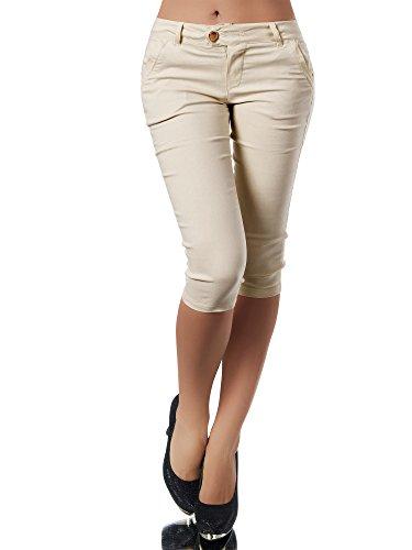 Beige Capri-hose (Diva-Jeans Damen Caprihose Treggings Leggings Stoffhose Sommerhose Knielang 3/4 Capri N827, Größen:XXL, Farben:Beige)