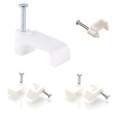 Fil Électrique Câble plat en plastique blanc Fixations Clips Câble téléphone Internet TV 50pièces