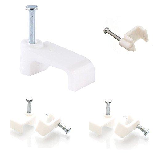 Preisvergleich Produktbild Kabelhalter, weiß, Kunststoff, flach, Klammern für elektrische Kabel von TV, Telefon, Internet, Kabel-Befestigungen, 50Stück