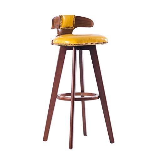 Wohnmöbel Retro Swivel Barhocker, Küchentheke Frühstücksstühle, Fußstütze Holzrahmen Bar Stühle Mit Rückenlehne FENPING (Color : Yellow) -