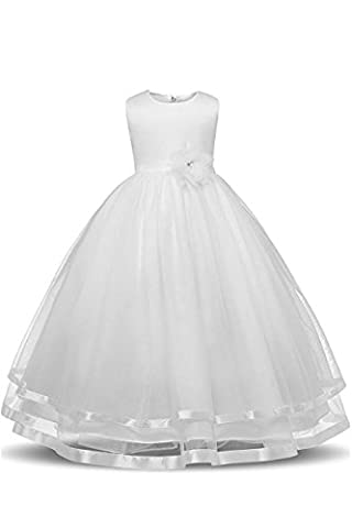 YMING Flower Girl Dress Tulle Party Bridesmaid Ball Gown Dresses Prom Dresses,White, 9-10 Years