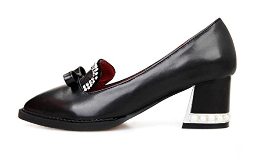 YCMDM Artificial PU Taille Cuir Chaussures Femmes Occasionnels Chaussures Black